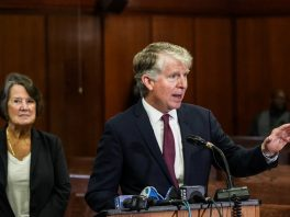 Manhattan District Attorney Cyrus R. Vance Jr. speaks at a news conference about dismissing some 3,000 marijunana smoking and possession cases