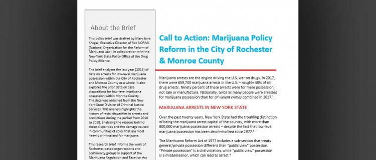 Call to Action: Marijuana Policy Reform in the City of Rochester & Monroe County